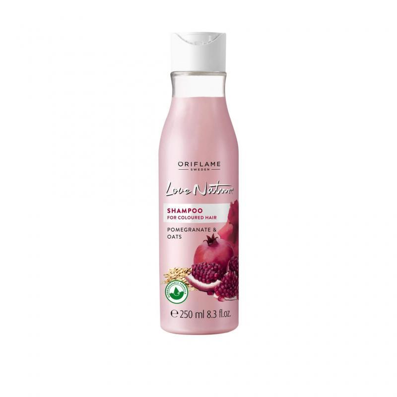34832 Oriflame – Dầu Gội Love Nature Shampoo Cho Tóc Nhuộm Lựu Và Yến Mạch – 250 Ml